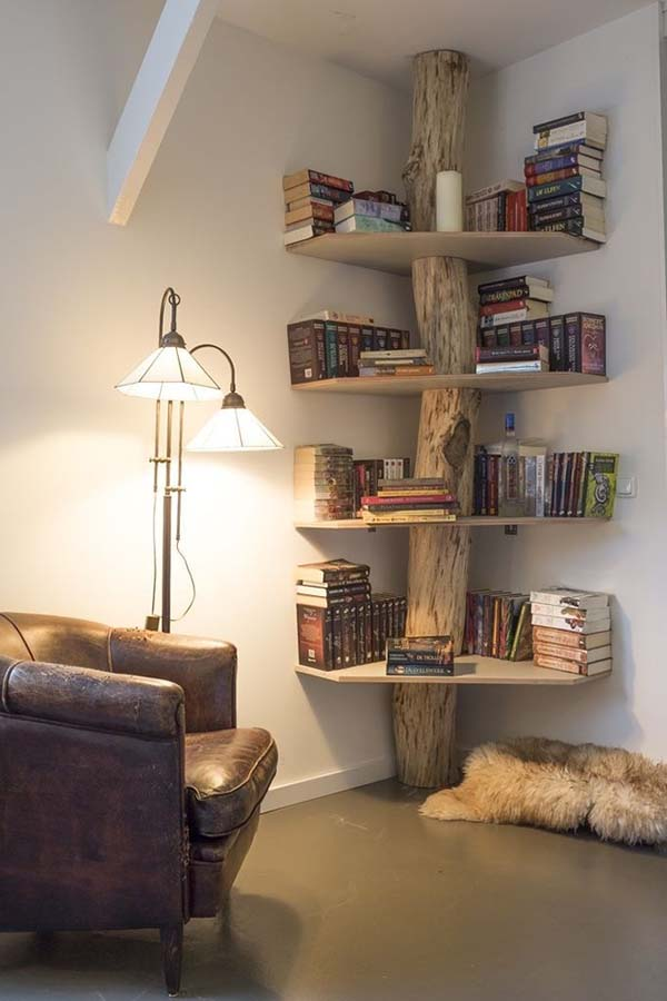 The Tree of Knowledge #corner wall shelves #bedroom #homedecorimage