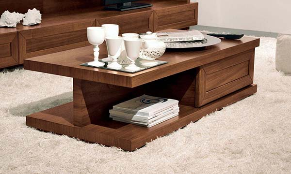 two level woodwn table