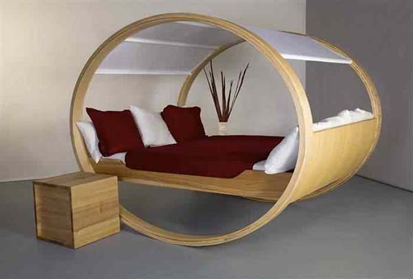 a bed in a cylinder