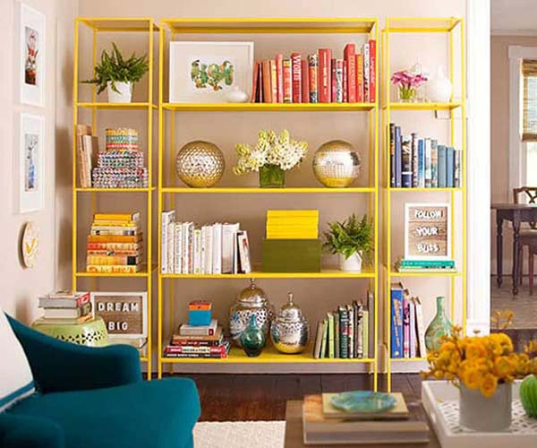 a bookcase with a steel frame