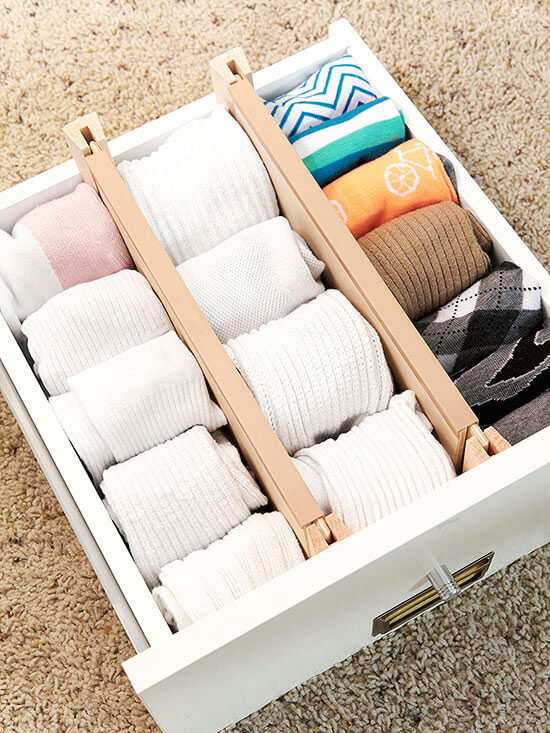 a drawer with dividers