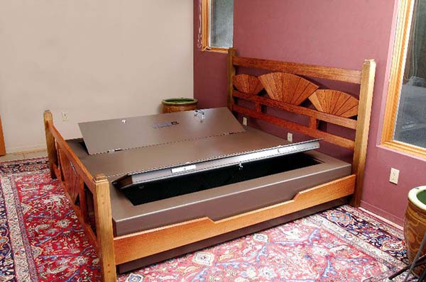 bed with wooden boards and base