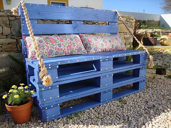 blue upcycled wooden pallets bench