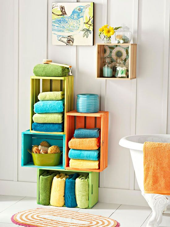 colored crates in the bathroom