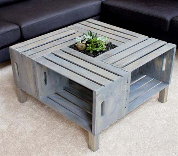 fancy coffee table made by crates
