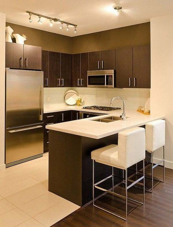 kitchen in warm brown and coffee nuance