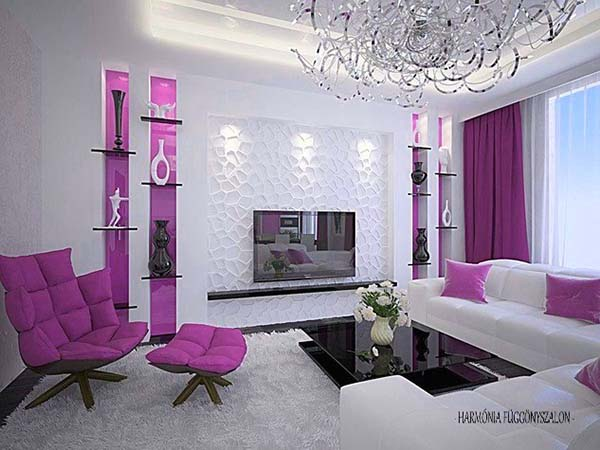 lilac highlights and white in the living room upholstered furniture