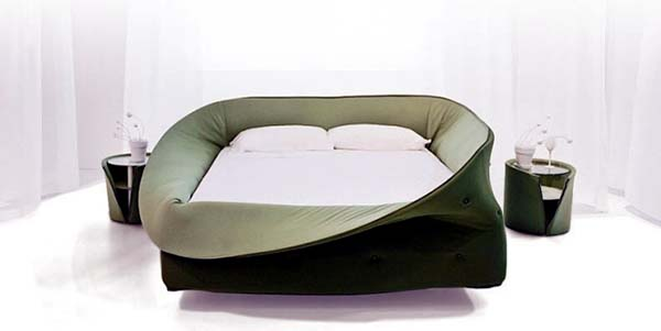 modern bed in green