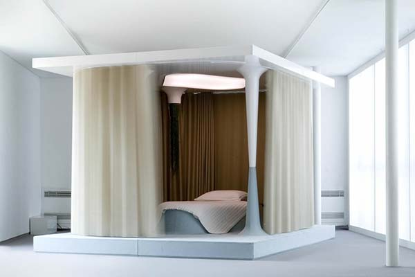 modern bed with antique combination