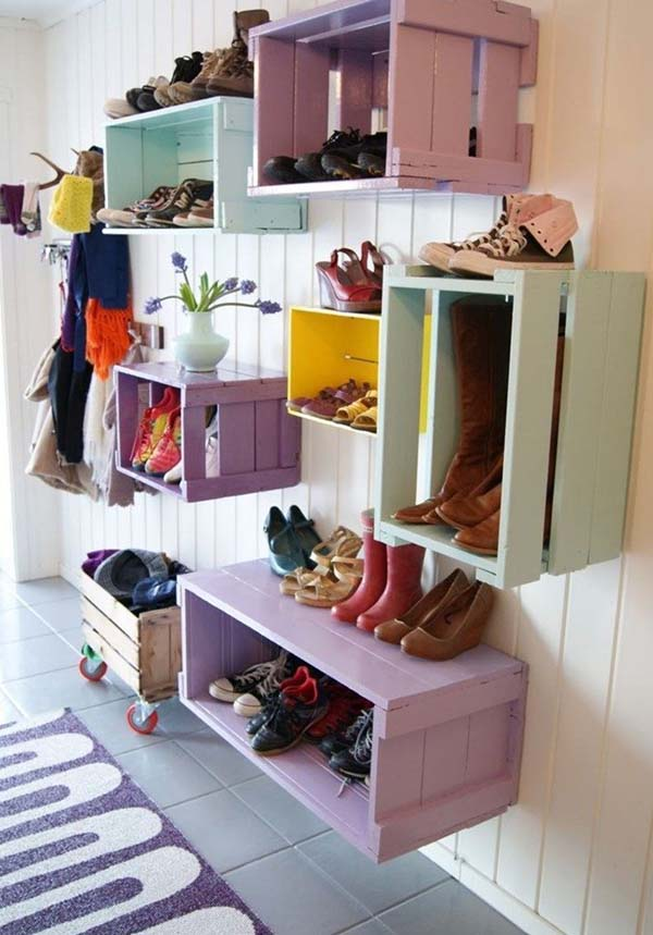 reuse old crates for shoes storage