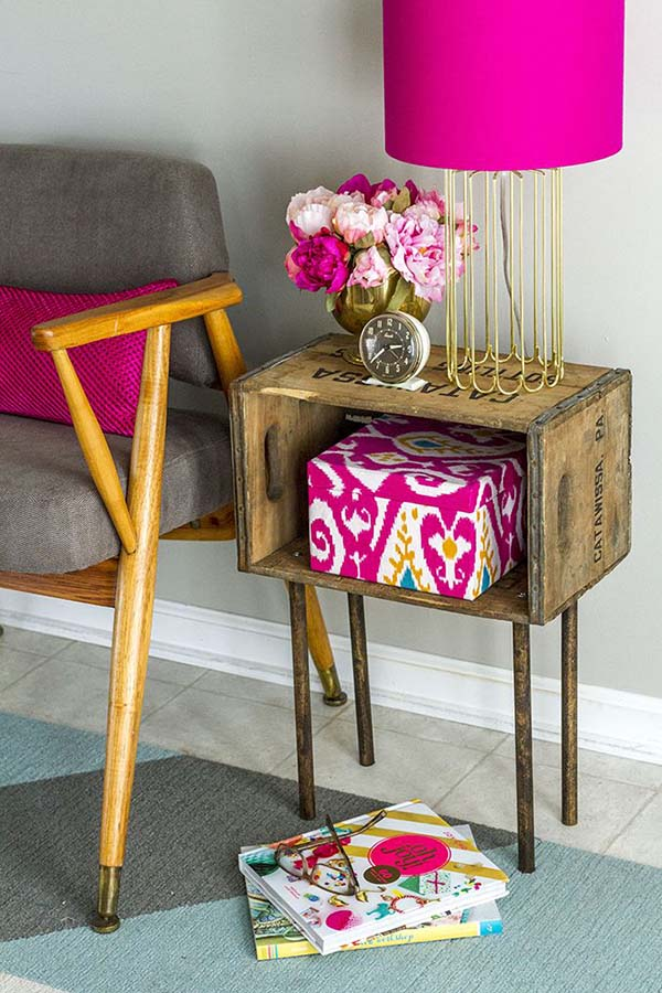 useful end table made by crates