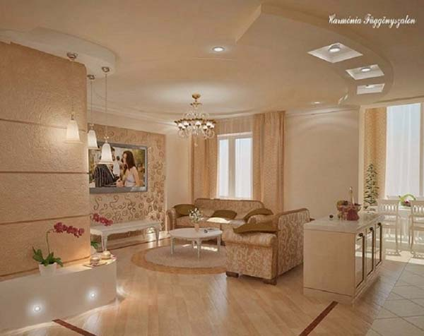 warm beige color in living room