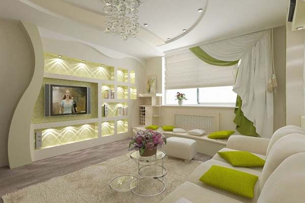 white with grass green highlights in the living room
