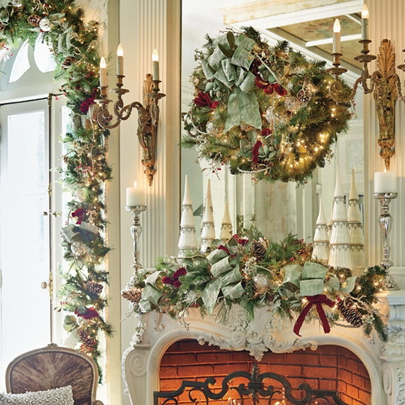 Green and Gold Fireplace Mantel Christmas Decoration Idea #Christmas #mantel #decoration #homedecorimage