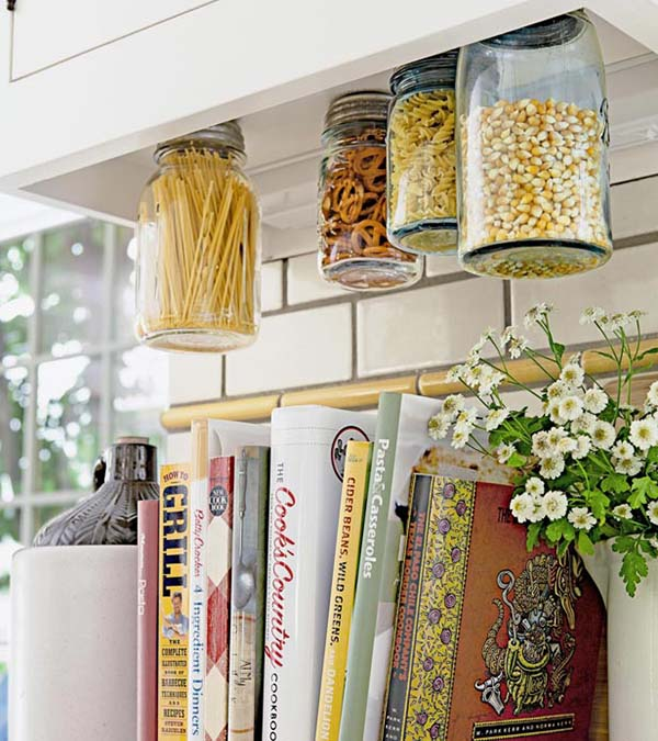hanging storage in the kitchen