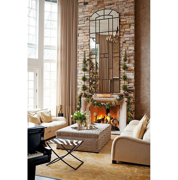 high ceiling stone fireplace ideas