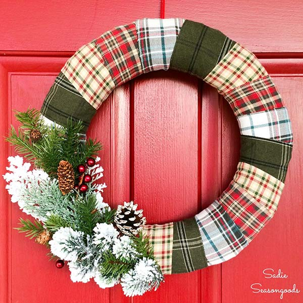 Plaid Christmas Wreath from Recycled Flannel Shirts #Christmas #decor #diy #homedecorimage