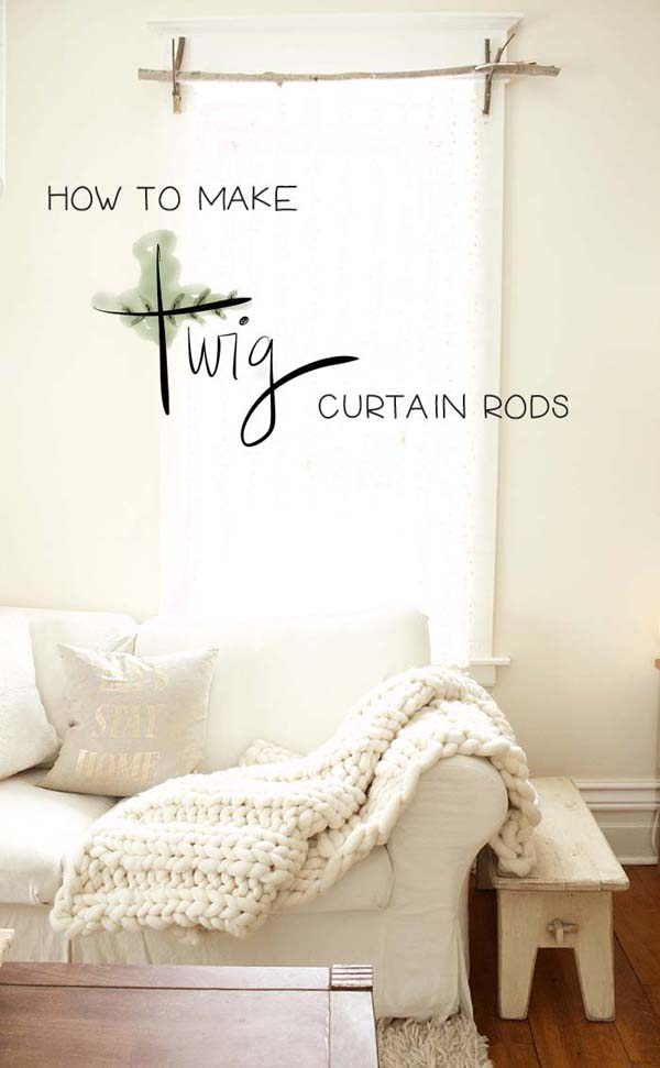 How To Make Twig Curtain Rod #decor #home #branches #homedecorimage