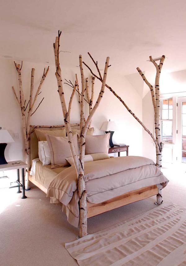 Scandinavian Forest Four Poster Bed #decor #home #branches #homedecorimage