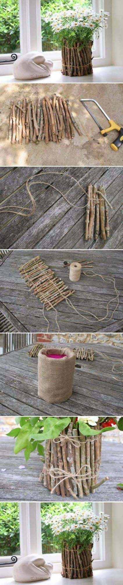 DIY Tree Branches Flower Pot #decor #home #branches #homedecorimage