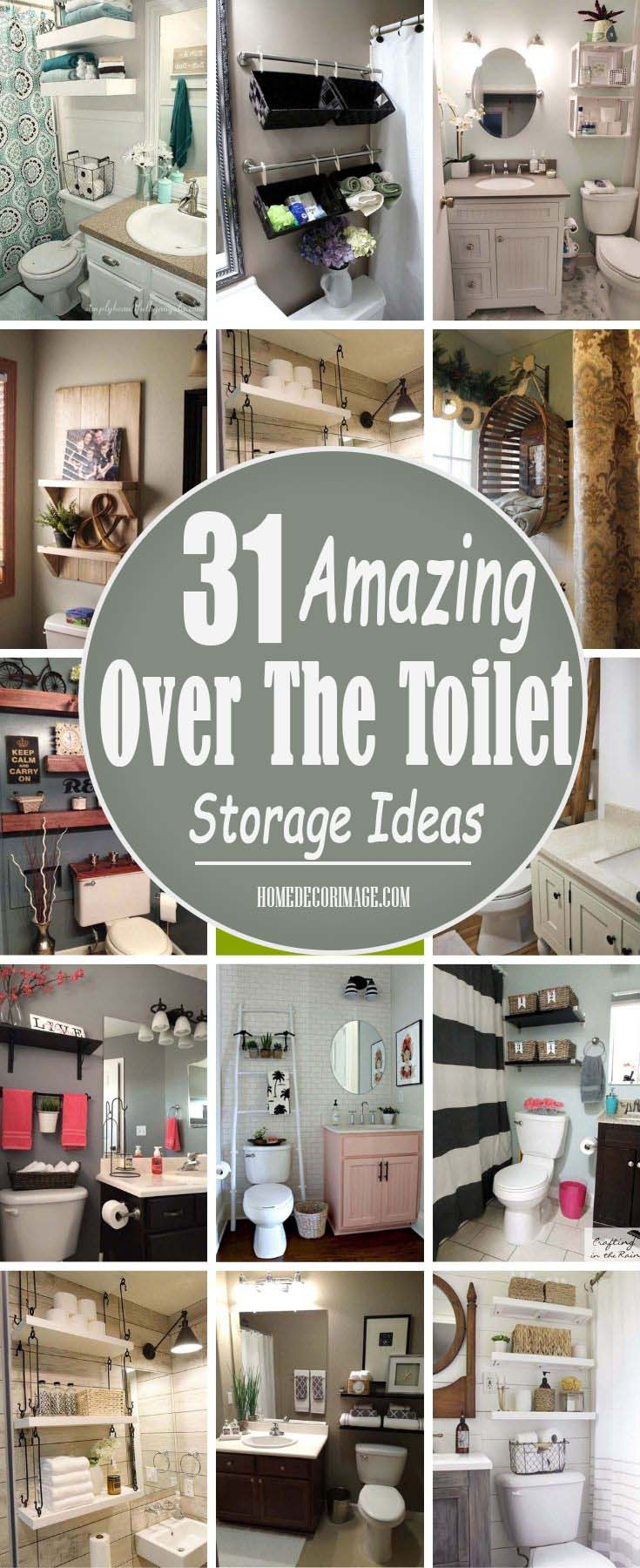 31 Creative Over The Toilet Storage Ideas To Help You Keep Your Bathroom Organized #storage #toilet #bathroom #homedecorimage