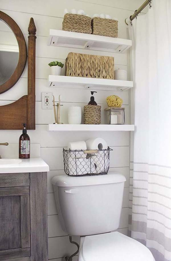 Above The Toilet Bathroom Shelves #storage #toilet #bathroom #homedecorimage