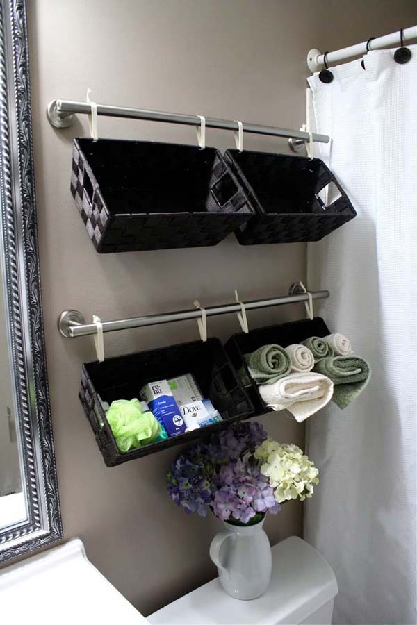 Above The Toilet Bathroom Storage Baskets #storage #toilet #bathroom #homedecorimage