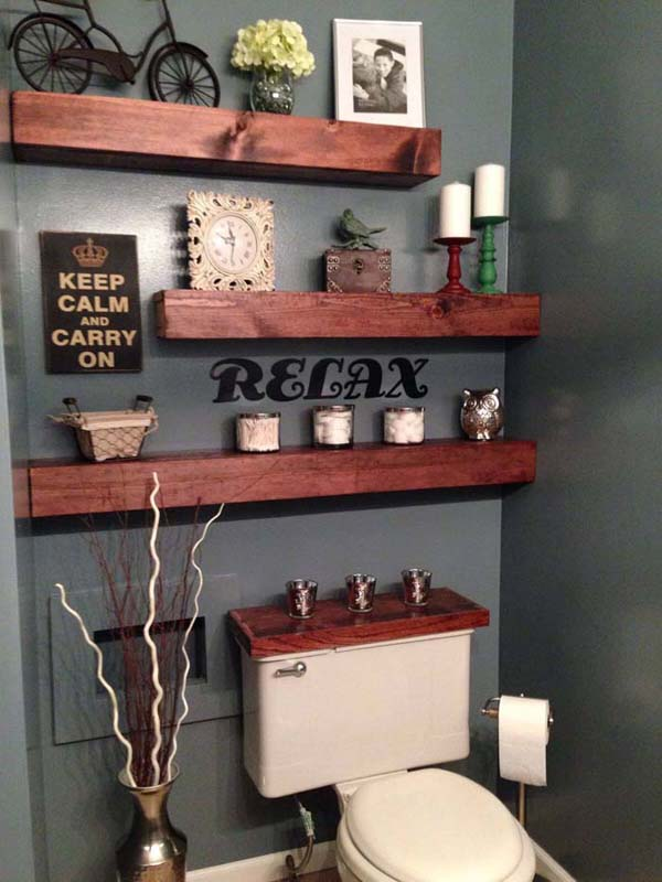 Above The Toilet Wood Bathroom Shelves #storage #toilet #bathroom #homedecorimage