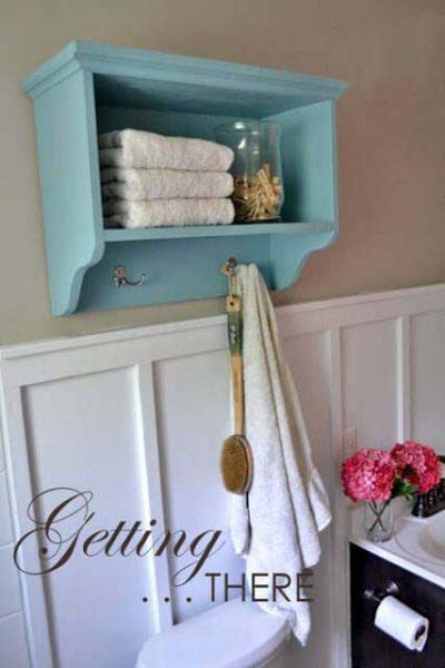 Bathroom Shelf and Towel Rack #storage #toilet #bathroom #homedecorimage