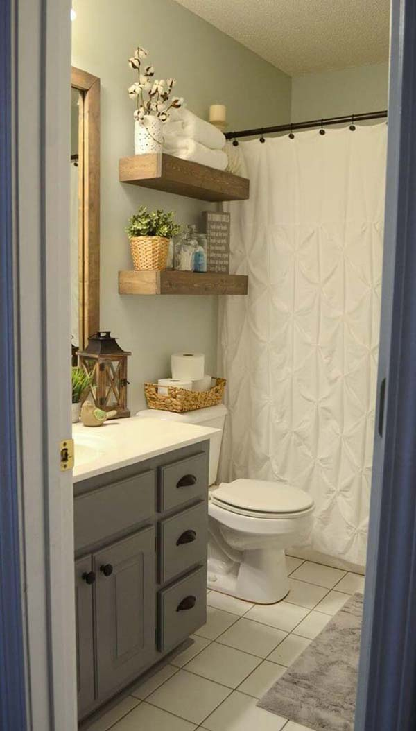 Charming Wood Bathroom Storage Shelves #storage #toilet #bathroom #homedecorimage