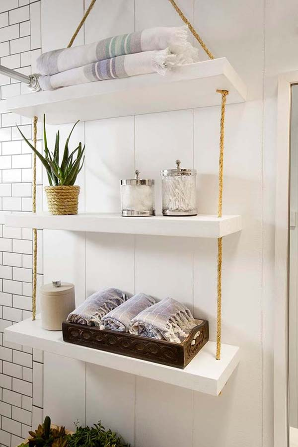 Chic Hanging Bathroom Storage Shelves #storage #toilet #bathroom #homedecorimage