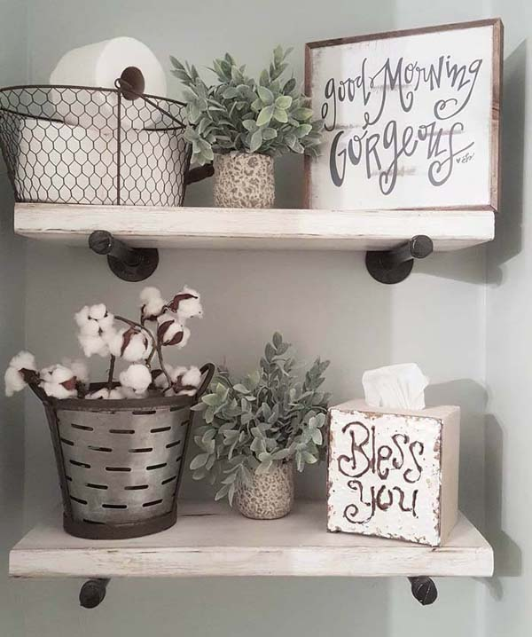 Country Chic Metal And Wood Bathroom Shelves #storage #toilet #bathroom #homedecorimage