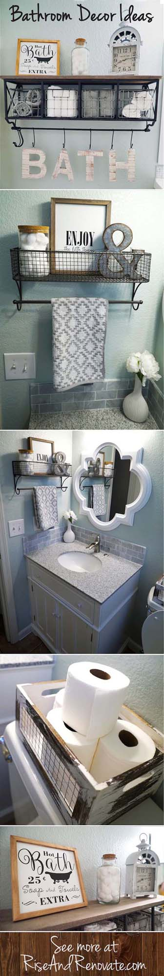 Easy DIY Bathroom Storage Baskets #storage #toilet #bathroom #homedecorimage