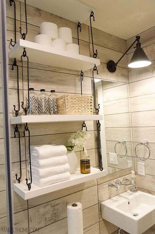 Farmhouse Bathroom Hanging Over Toilet Shelves #storage #toilet #bathroom #homedecorimage