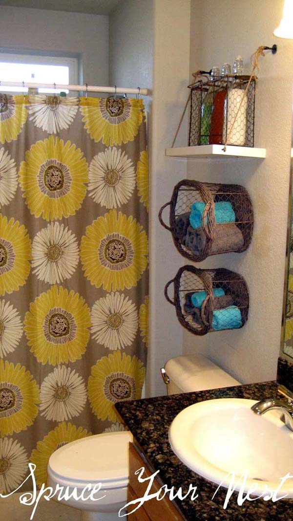 Hanging Shelf And Basket Organizers #storage #toilet #bathroom #homedecorimage
