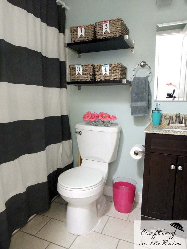 Individual Family Bathroom Storage Baskets #storage #toilet #bathroom #homedecorimage