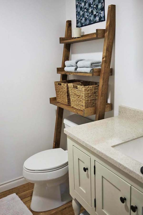 Over The Toilet Ladder Organizer #storage #toilet #bathroom #homedecorimage