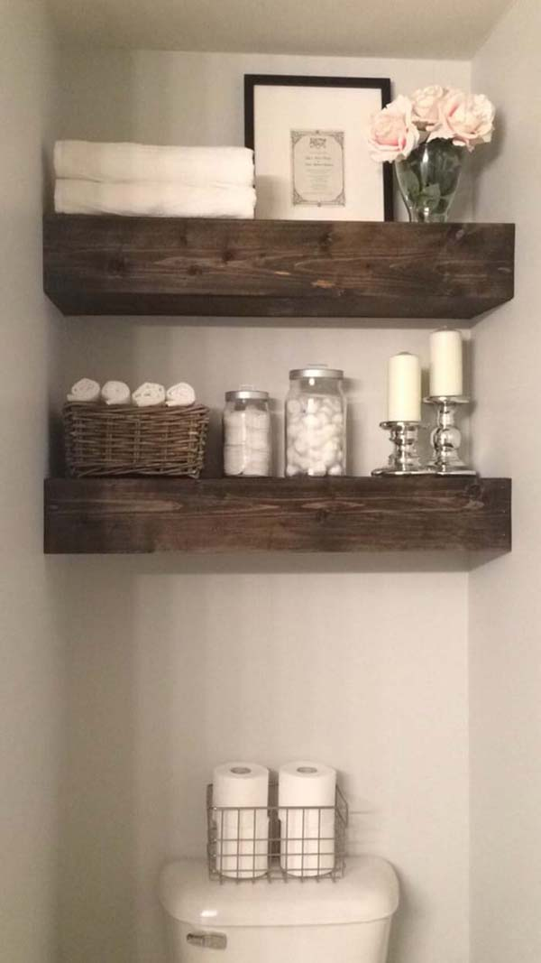 Over The Toilet Wood Shelves #storage #toilet #bathroom #homedecorimage