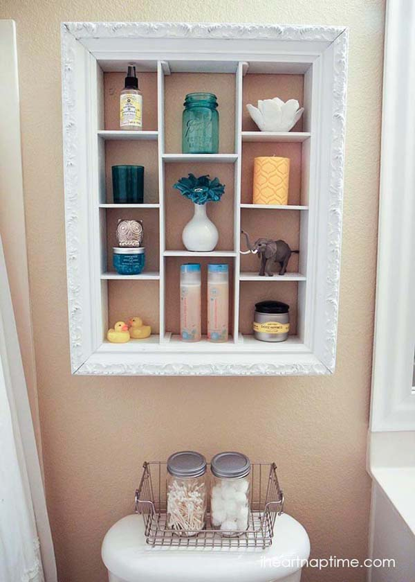 Repurposed Shadow Box Bathroom Organizer #storage #toilet #bathroom #homedecorimage