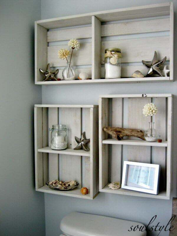Repurposed Wood Crate Storage Shelves #storage #toilet #bathroom #homedecorimage