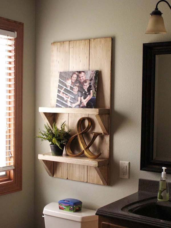 Rustic Barn Board Bathroom Shelves #storage #toilet #bathroom #homedecorimage
