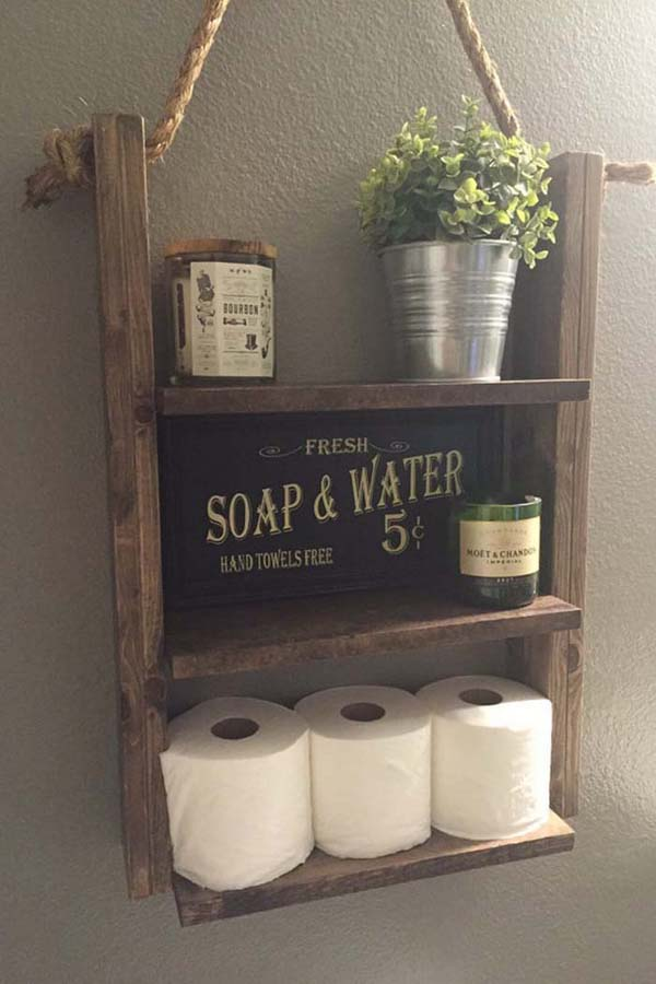 Rustic Wood Bathroom Organization Shelves #storage #toilet #bathroom #homedecorimage