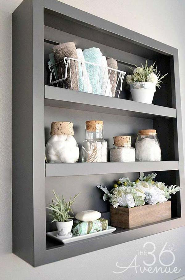 Simple Shadow Box Bathroom Organizer #storage #toilet #bathroom #homedecorimage