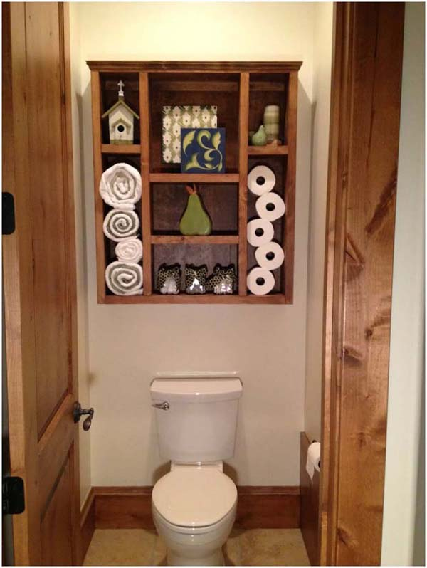 Wood Shadow Box Bathroom Organizer #storage #toilet #bathroom #homedecorimage