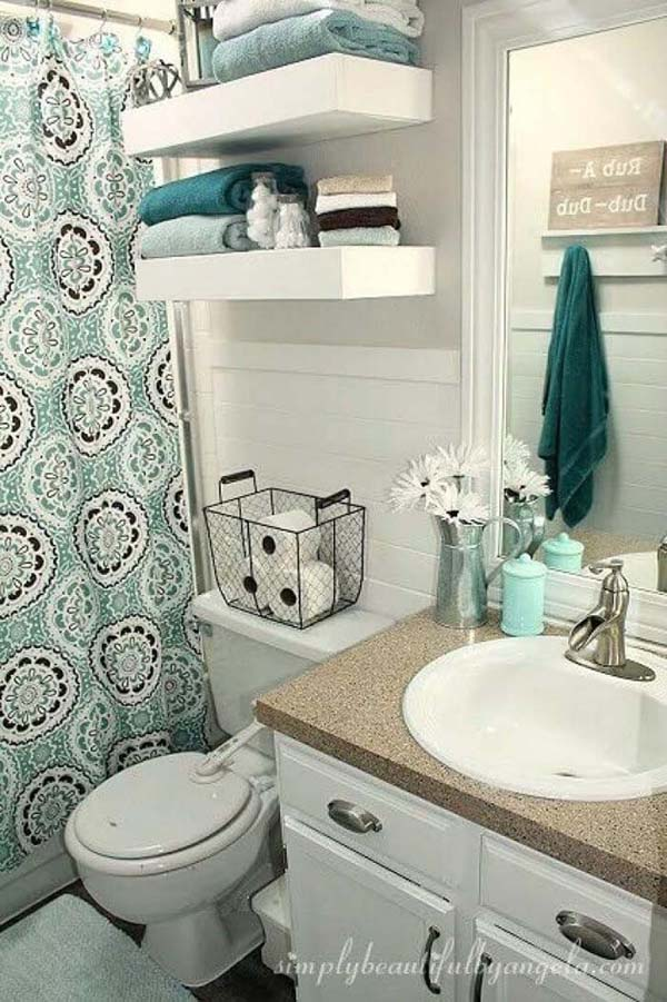 DIY Above The Toilet Storage Shelves #storage #toilet #bathroom #homedecorimage