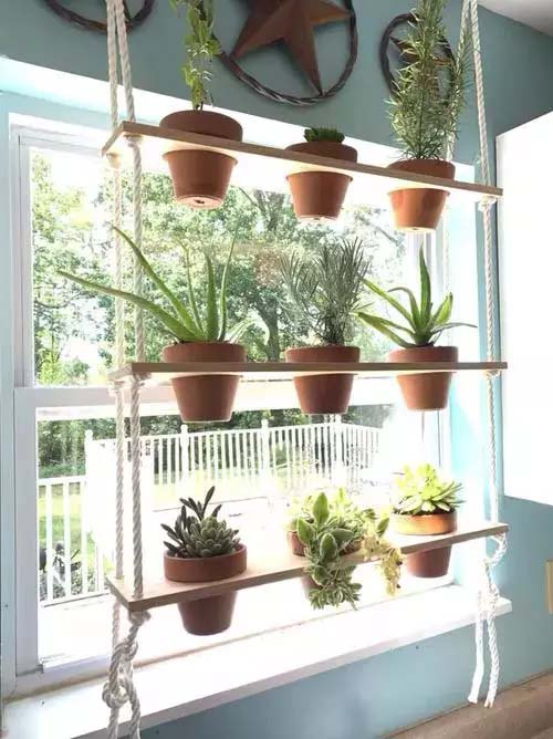 Custom Wooden Hanging Shelf for Succulents #window shelf #plants #homedecorimage