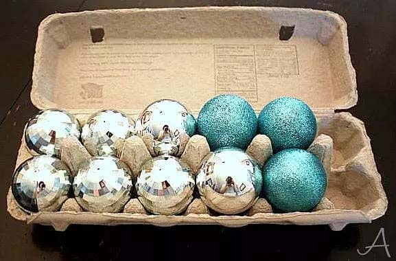 Egg Cartons for Keeping Christmas Ornaments Hanging Ribbons In A Slotted Tupperware Bin
