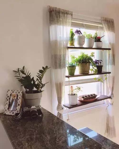 Shelf Hanging Over Window #window shelf #plants #homedecorimage