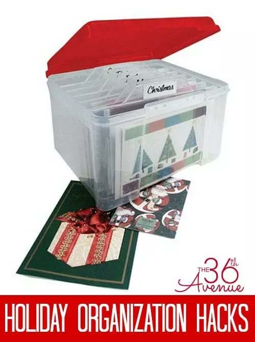 Smart Christmas Cards Storage Idea Hanging Ribbons In A Slotted Tupperware Bin