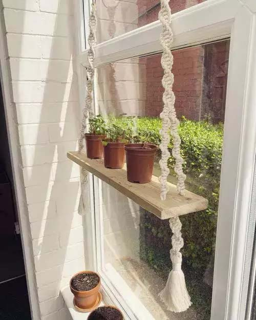 Tiny Hanging Shelf for Small Pots #window shelf #plants #homedecorimage